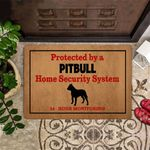 Pitbull Home Security 24 Hour Monitoring Doormat Funny Outdoor Doormat For Pitbull Owner Lover