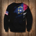 North Carolina & American Flag Logo Sweatshirt North Carolina State Pride Gift For Men