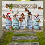 Butterfly Bulldog It's Okay Quotes Christmas Yard Sign Rustic Farmhouse Decor For Dog Owners