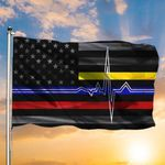 First Responders Flag Heartbeat American Flag For Blue Line Patriot Gifts For Veterans Day