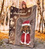 Love Dachshund Christmas Blanket Dog Wearing Suit Satan Gifts For Newlyweds