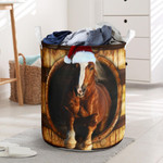 Horse Wood Pattern 3D Laundry Basket Galloping Horse Christmas Designs, Xmas Gifts For Roommate