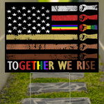 American Together We Rise Yard Sign Blm Patriotic Gifts Home Decor