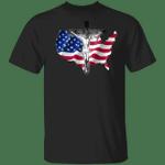 Jesus Christ On Cross T-Shirt American Flag Christian Religion Shirt Gift For Men For Women
