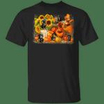 Dachshunds With Pumpkins Sunflower Autumn T-Shirt Mid Autumn Festival Shirt Dachshund Merch