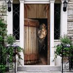 T-Rex Vintage Wood Door Cover Christmas Front Door Decor Gift For Dinosaur Lover