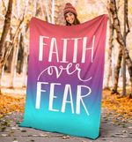 Faith Over Fear Fleece Blanket Christianity Multicolor Gradient Designs Winter Gift Ideas