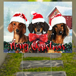 Dachshund Merry Christmas Yard Sign Holiday Graphics 3D Outdoor Christmas Decorations