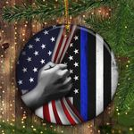 Thin Blue Line Inside American Flag Ornament Honor Law Enforcement Gift For Cops Xmas Decor