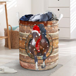 Horse Wood Pattern Christmas Laundry Basket Holiday Gifts For Parents Gifts For Horse Lovers