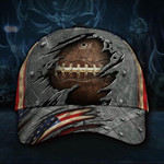Rugby Ball Hat 3D Vintage Old Retro American Flag Cap For Men Rugby Ball Sport Lovers