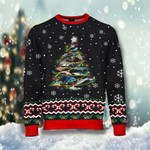 Shark Christmas Tree Sweatshirt Snow Unique Christmas Sweater For Shark Lover Sibling Gift