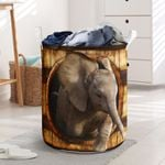 Elephant Wood Pattern 3D Laundry Basket Adorable Animal Designs Household Items Parent Gifts