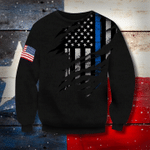 Thin Blue Line And American Flag 3D Sweatshirt Honor Respect Sweater, Winter Gifts For Unisex