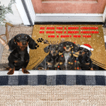 Dachshunds We Wish You A Merry Christmas And A Happy New Year Doormat Holiday Decor For Family