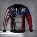 Texas State Flag And American Flag 3D Hoodie Graphic Printed Hoodie For Men For Women
