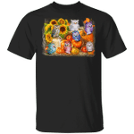 Cute Owls With Pumpkins Sunflower Halloween T-Shirt Graphic Tee Fall Shirt Ideas Party Gifts