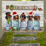 Butterfly Dachshund It's Okay Quotes Vintage Yard Sign Rustic Farmhouse Decor Weiner Gifts