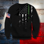 Thin Green Line And American Flag 3D Sweatshirt Honor US Armed Forces, Pride Gifts For Veterans