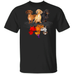 Dachshunds Water Reflection Halloween Cosplay T-Shirt Devil Halloween Costume Dachshund Gifts