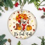 Chihuahua It's Fall Y'all Ornament Adorable Dog Thanksgiving Ornament, Gifts For Dog Owners