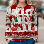 Poodles With Santa Hats Christmas Snowflake Sweatshirt Adorable Xmas Sweater For Dog Lovers