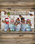 Sloths It's Okay Christmas Wooden Poster Bedroom Wall Decor Inspirational Gifts For Friends
