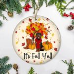 Rottweiler It's Fall Y'all Ornament Autumn Leaves Thanksgiving Ornament Gifts For Home Decor