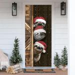 Three Sloth Christmas Door Cover Snowy Christmas Graphic 3D Home Decor Ideas