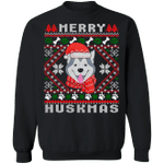 Husky Merry Huskmas Sweatshirt Ugly Christmas Sweatshirt Gift For Husky Lover Men Woman