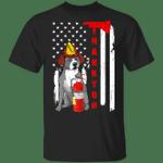 Firefighter Pitbull Thank You American Flag Shirt Cute Dog Gift For Firefighter