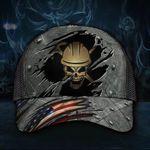 Builder Skull Trucker Hat 3D American Flag Cap Honor Career Builder Gift For Men