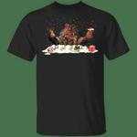 Cocks Merry Christmas T-Shirt Snowfall Graphic Tee Shirt Christmas Present Ideas For Friends