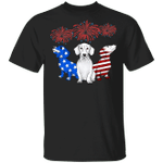Three Dachshunds American Flag Color T-Shirt Patriotic 4Th Of July Gift Idea For Grandparents
