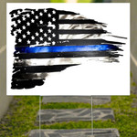 American Flag With Blue Stripe Yard Sign Support Of Police And Law Enforcement Officers