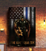 Thin Blue Line American Flag Poster Support Our Local Enforcement Home Decor Gift For Cops