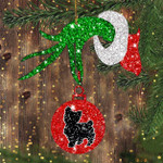 Yorkie Green Hand Holding Ornament Cute Dog Red Glitter Ball Ornament Christmas Tree Decor