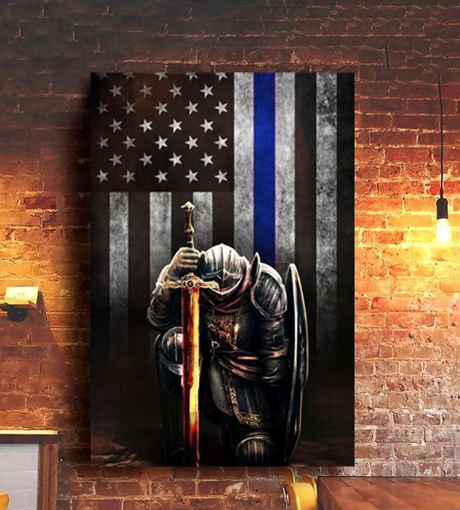 Thin Blue Line Flag Poster Knight Templar Honor Our Men Women Law Enforcement Wall Decoration