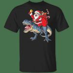 Santa Claus Riding Dinosaur T-Shirt Funny T-Rex Christmas Graphic Tee Cute Shirt For Teen