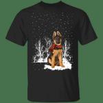 German Shepherd Red Scarf Shirt Snow Falling Vintage Christmas Design Gift For Dog Owner