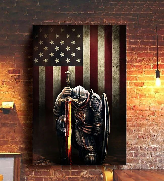 American Flag Knight Templar Vintage Poster Print Patriotic Wall Art Patriot Gift For Him