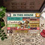 Sloth Doormat In This House We Are Sloth Rescuers Cute Doormat Outdoor Indoor Entrance Mat