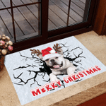 Frenchie Cracked Ice Merry Christmas Doormat Decorative Floor Mat Welcome Frenchie Ornament