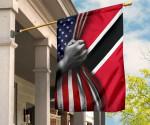 Trinidad And Tobago Flag And American Flag Old Retro Patriotic Flag Of Trinidad
