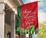 Jesus Is The Reason For The Season Flag Musical Pattern w Red & Green Flag Family Presents
