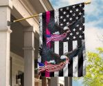 Breast Cancer Awareness Flag Eagle With American Flag Pink Ribbon Decorative For Garden