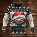 Ho Ho Ho Sloth Christmas Hoodie Cute Animal Ugly Christmas Hoodie Design Gift For Couple
