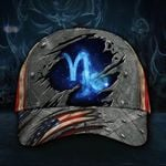 Capricorn Zodiac Hat 3D Print Vintage USA Flag Cap Gift For Capricorn Woman Man