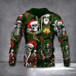 Skull Santa Claus Christmas Hoodie Mens Skeleton Tropical Forest Hoodie Funny Gift For Men