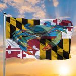 Blue Crab Maryland State Flag Patriotic Graphic With Native Maryland Pride For Decoration